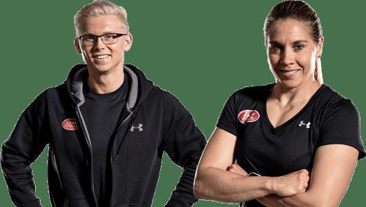 Perus-ryhmänohjaajat Kirsi Ahonen ja Ville Hakala