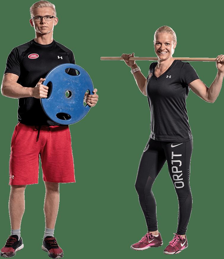 Kuntovalmentaja Ville Hakala ja Mia Åminne